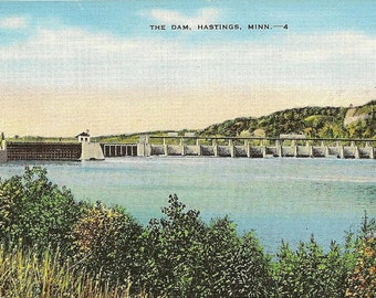 HASTINGS Minnesota The Dam Unused Vintage Linen Postcard - Lovely Scenic Landscape