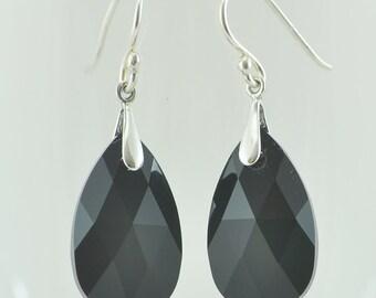 Teardrop Swarovski Crystal Earrings, Pear Earrings, Faceted Briolettes, Sterling Silver Drop Earrings, Jet Black Classic Earrings