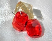 Sterling Silver light siam (red) graphic swarovski earrings