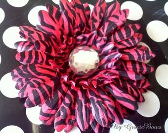 French Pink Zebra Print Gerbera Daisy Hair Clip