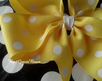 Yellow and White Polka Dots Large Pinwheel Bow