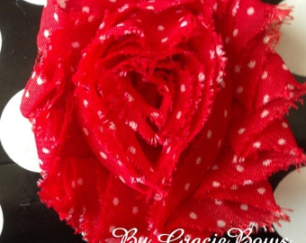 Red and White Polka Dot Shabby Flower Skinny Elastic Headband