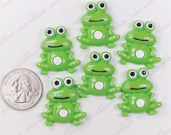 27mm 8pcs Green Smile Frog  Kawaii Bling Flatback Resin Cabochon