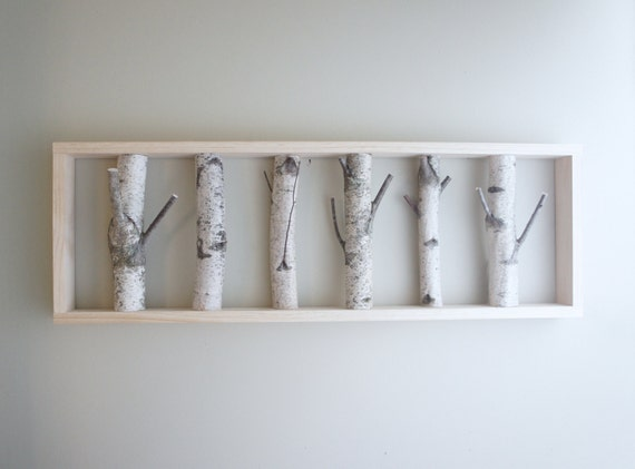 natural white birch forest wall art - 36 x 12, birch branch, birch log, wall hanging, modern rustic wall decor, framed birch art