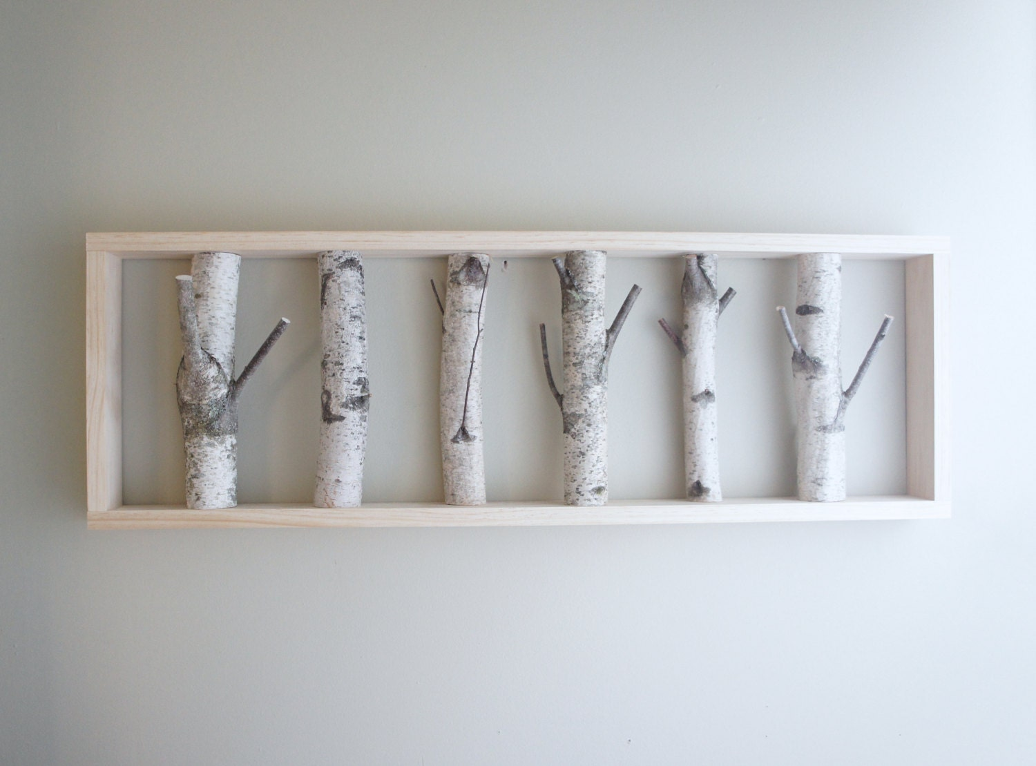 Natural white birch forest wall art 36 x 12 by urbanplusforest for White wall decor