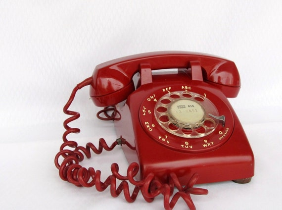 Red Rotary Dial Telephone Vintage Phone