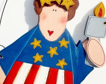 Hand Painted Americana Decor Patriotic Lady Liberty