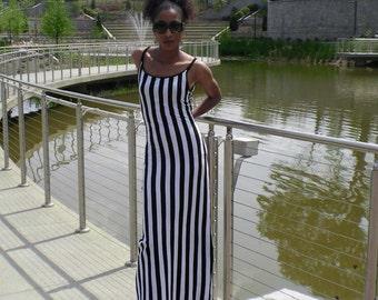 Vertical Black and White Striped Maxi Tank Dress