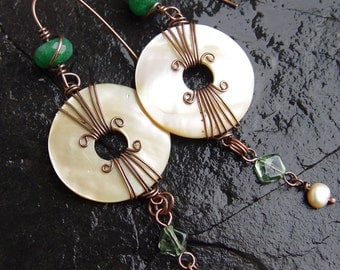 Mother of Pearl Shell Donut, Freshwater Pearls, Green Jade and Glass Copper Wirewrapped Earrings Boho