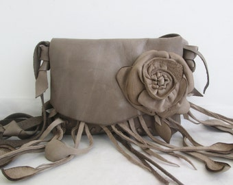 brown taupe leather handbag messenger, shoulder bag with removeable flower rose by Tuscada. Ready to ship