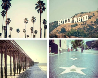 California Photography Print Set, Los Angeles, Large California Wall Art, Hollywood, Palm Trees, Beach Decor, Retro Feel