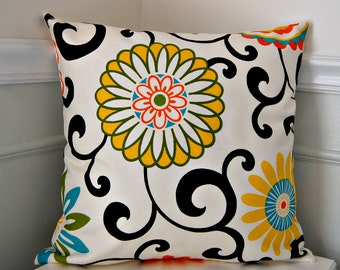 Floral Pillow Cover, Yellow Orange Throw Pillow, Turquoise Pillow Cover, Floral Cushion Cover, 18x18 Inch Floral Pillow