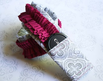 Ruffled Camera Strap Cover Padded with Lens Cap Pocket - Photographer Gift - Gray Moroccan with Dark Pink Ruffle