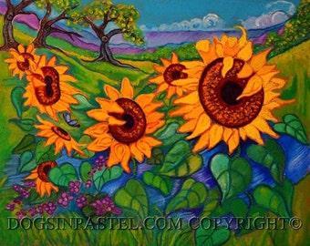 Sunflowers painting art - Sunflowers-  ORIGINAL oil pastel Painting sunflower Flowers Art Landscape