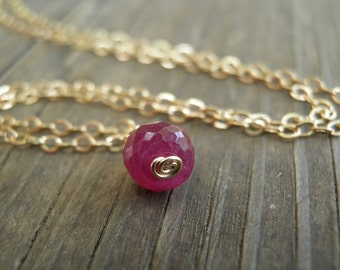 Tiny Ruby Necklace, Minimalist Necklace, Simple Necklace, Ruby Red Necklace ,14K Gold Filled, July Birthstone Necklace, Summer Fashion