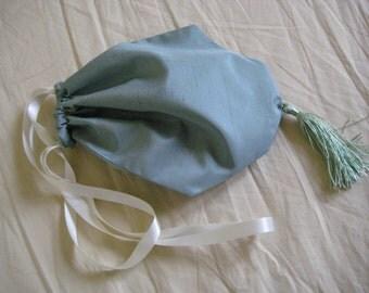 Regency Reticule,Bag. Victorian. Jane Austen. Sage Green Silk. Prom Bridal.