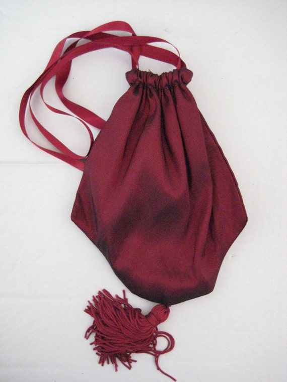 RESERVED Regency Reticule,Bag. Victorian. Jane Austen. Red Taffeta.