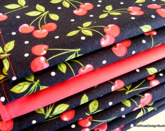 Bowl of Cherries in Black Cloth Napkins // Set of 4