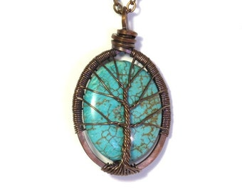 The Oval Turquoise Tree of Life Necklace in Antique Copper.
