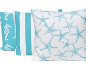 Pillow Cover, Cushion Cover, Decorative Throw Pillow Cover Beach Decor THREE Nautical Decor Coastal Blue Aqua on White Beach Wedding Decor