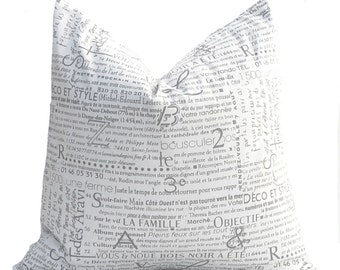 Throw Pillow Covers Decorative Pillows Gray and White Twill Pillow Covers 18 x 18 Inches French Script