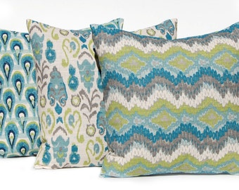 Burlap Pillow Covers - Turquoise Pillow Cover - Set of Three - 20 x 20 - Teal Pillow Cover - Frost Birch Premier Prints - Sofa Pillow Covers