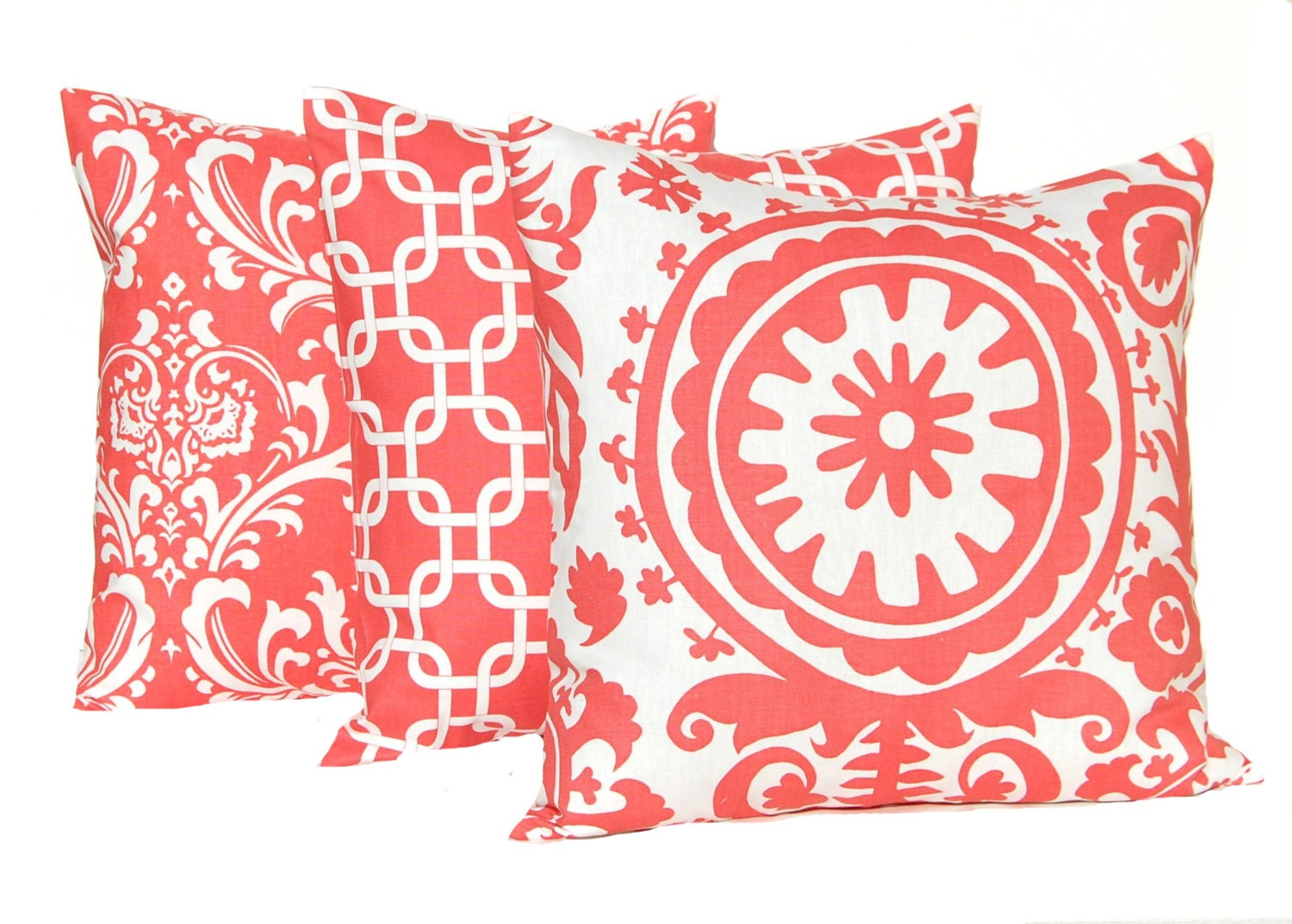 Coral Bed Throw Pillows : Coral Pillow Covers Set of Three Decorative Pillow Covers