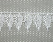 Venice Lace WHITE Leaves Trim Leaf Motif HALF Yard Crazy Quilting