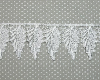 Venice Lace WHITE Leaves Trim Leaf 1 yard Crazy Quilting
