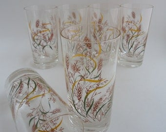 6 Vintage Whispering Wheat Glass Tumblers, Highball Glasses, International Plastic Pattern