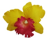 6 PCS. 5.00 inches Yellow Orchid Silk Rose flower Craft and Decoration