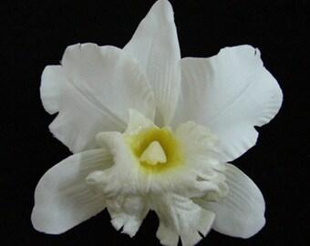 White Orchid Silk flower Hair Clip 5.00 Inch.