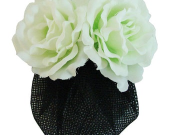 White Pale Light Green Silk Rose flower Barrette Hair Clip With Snood Net