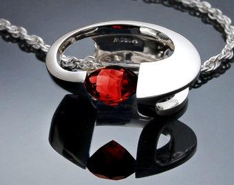 garnet necklace, January birthstone, red necklace, statement necklace, fine jewelry, Argentium silver, Mozambique garnet - 3394