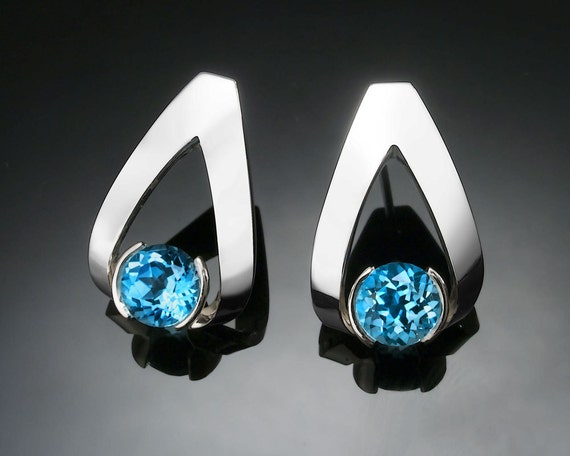 Swiss blue topaz earrings, Argentium silver, December birthstone, gemstone jewelry, tension set earrings, artisan jewelry - 2470