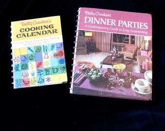 Betty Crocker 2 Hardcover 1st Ed. Cook Books Sixties and Seventies recipes Dinner parties and Cooking Calendar