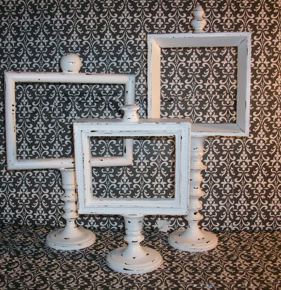3 Up cycled Chippy White Candle Stick Picture Frames