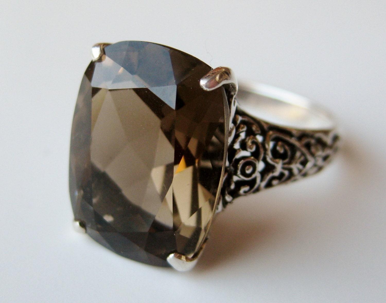 vintage ring sterling silver filigree smoky topaz cocktail. Black Bedroom Furniture Sets. Home Design Ideas