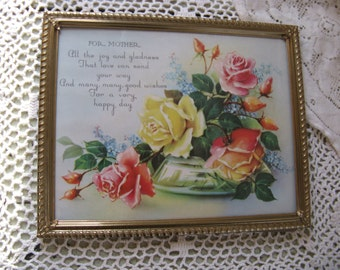 mothers print pink roses yellow roses for mother gold metal frame mothers day gift 8 by 10 easel back