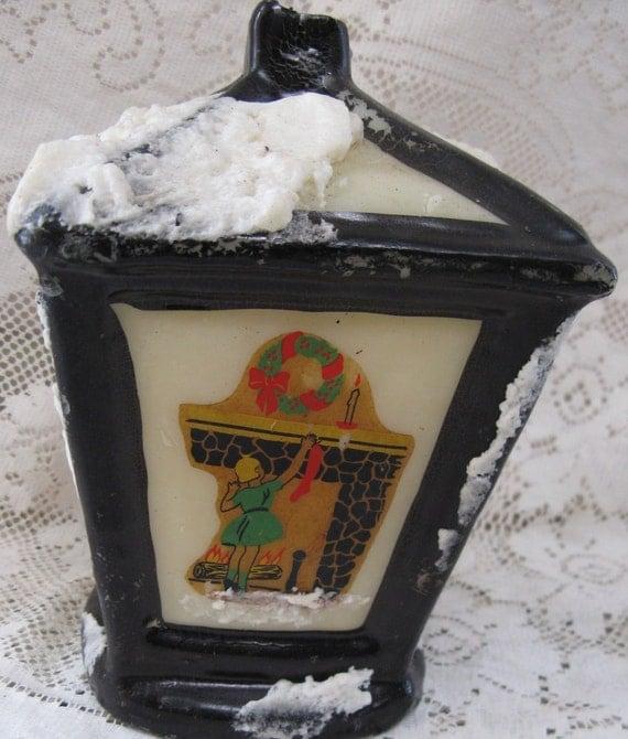 vintage christmas candle lantern shaped candle 1930s era candle antique christmas candle