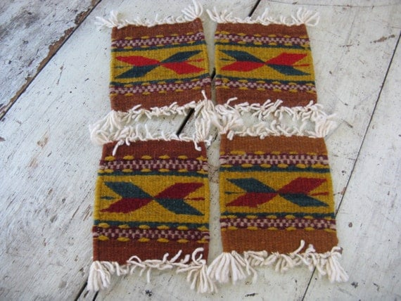 Native American Navajo Motif Woven Wool Coasters Wool Coaster