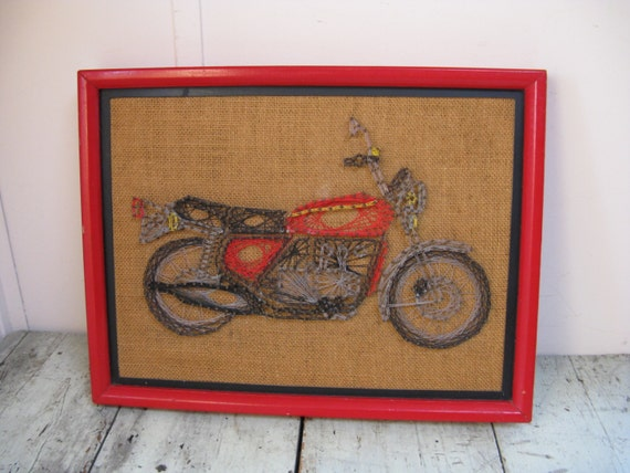 Man Cave String Art : String art motorcycle wall decor fathers day man cave wood
