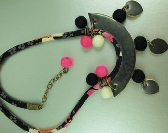 Hot Pink and Black Necklace, Mixed Media Necklace Felt Balls, Elaine Ray Ceramics, 20 inches, Chirimen Cord, Modern Asian Inspired