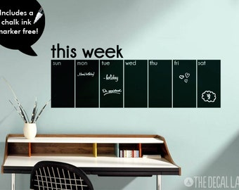 This Week Calendar Chalkboard Wall Decal - Weekly Blackboard Calendar Decal - Free Chalk Ink Marker CHK-WCAL2
