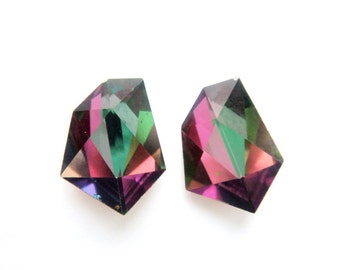 Color Changing Geometric Crystal Earrings Rare Vintage