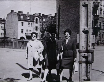 Vintage French Black & White Photograph - Ladies in Town