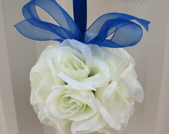 Flower girl kissing ball, Wedding pomander, Royal blue Wedding decoration, Ceremony pew marker