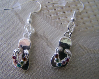Silver & Crystal Flip Flop Earrings Clearance Sale