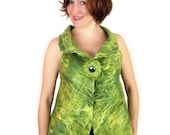 Green Wool Vest Green Silk Vest Green Felted Vest Women Green Vest  Fashion Vest Boho Vest and Brooch (set)