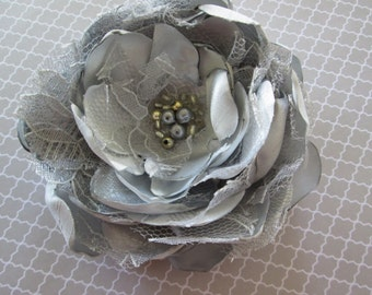 Bridal fabric flower hair accessory clip wedding or special occasion accessory